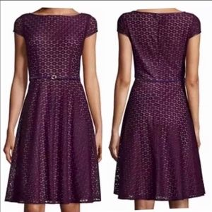 Evan Picone Black Label Plum Lace Overlay Dress